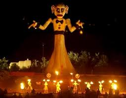 Zozobra about to be set on fire at night