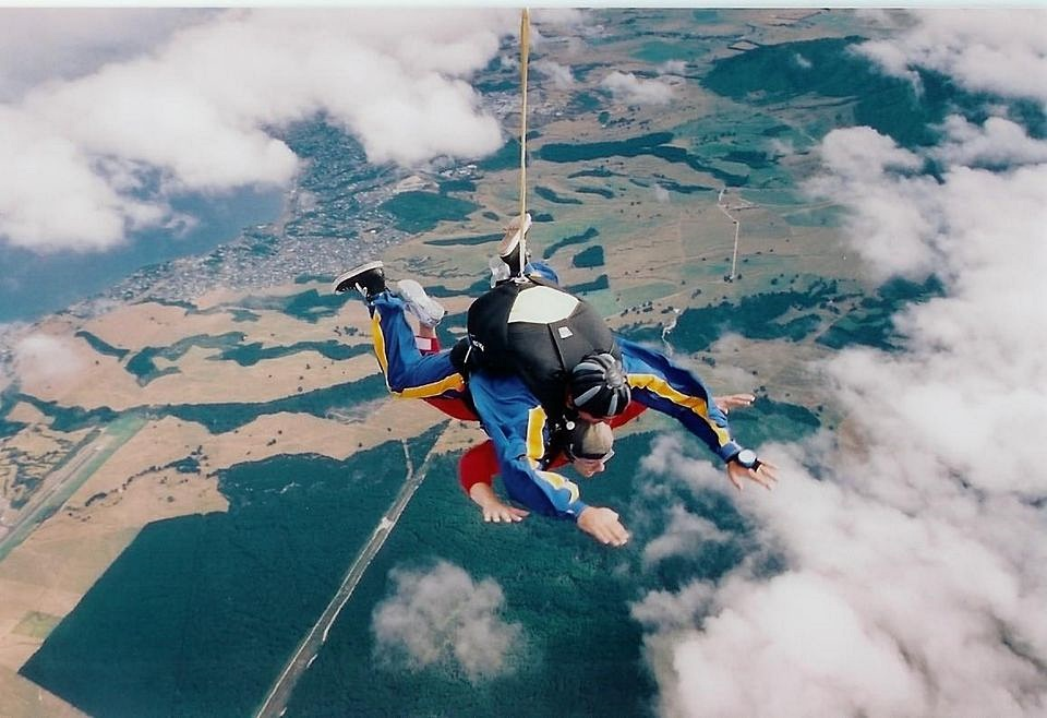 Tandem skydiving over New Zealand
