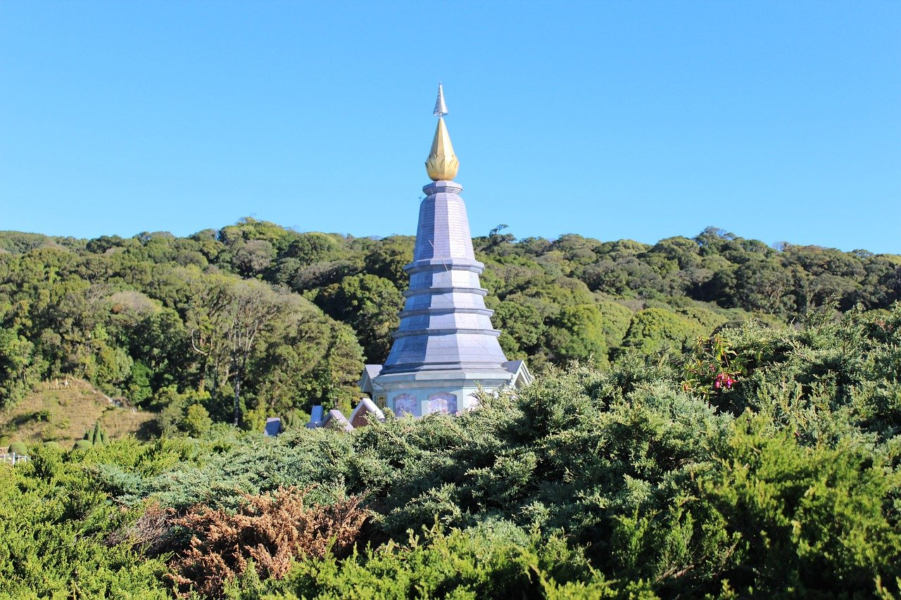 A blue tower in the forest at Chiang Mai