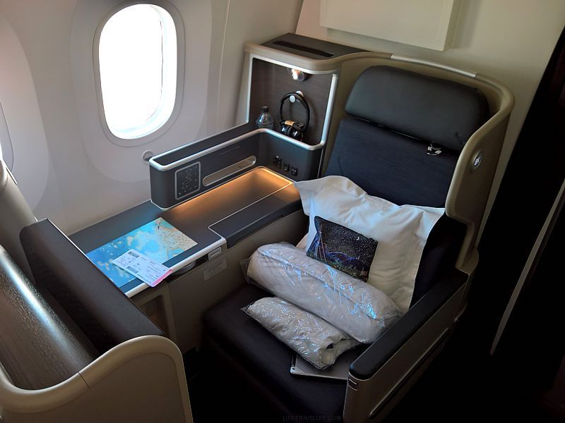 Qantas business class seat on QF10