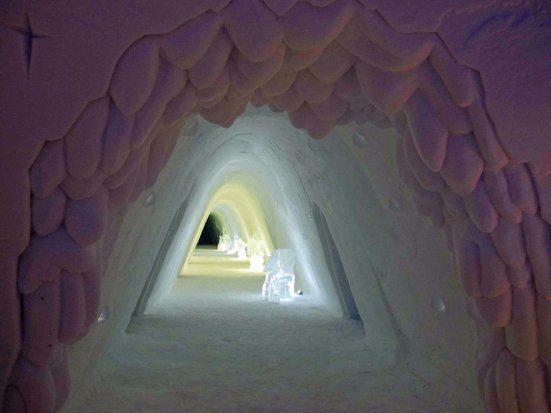 Entrance tunnel to a snow hotel in Norway