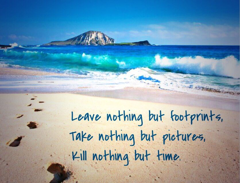 leave nothing but footprints quote - beach scene with footprints in the sand