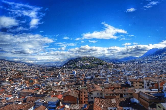 View over Quito city in bright sunshine