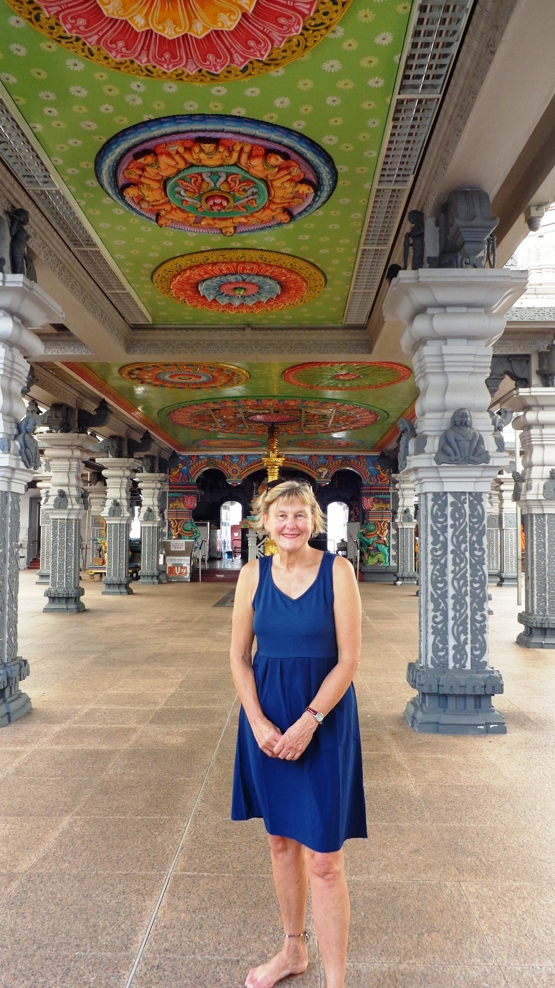 Author touring temple in Singapore's Little India
