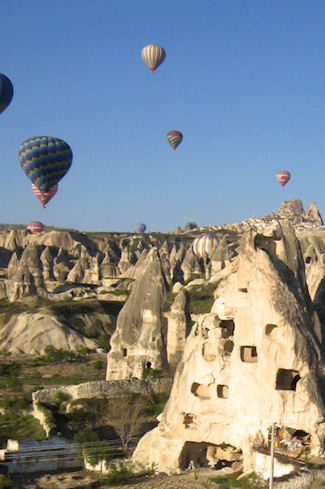 Hot air balloons aloft over Turkey
