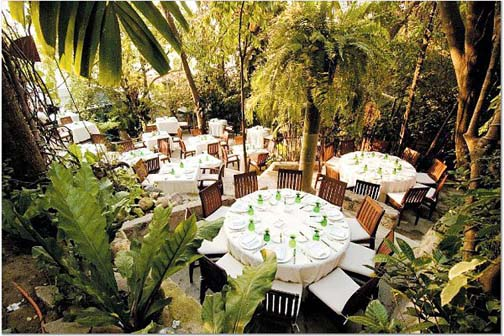 Cafe des Artistes in Puerto Vallarta, outdoor dining area