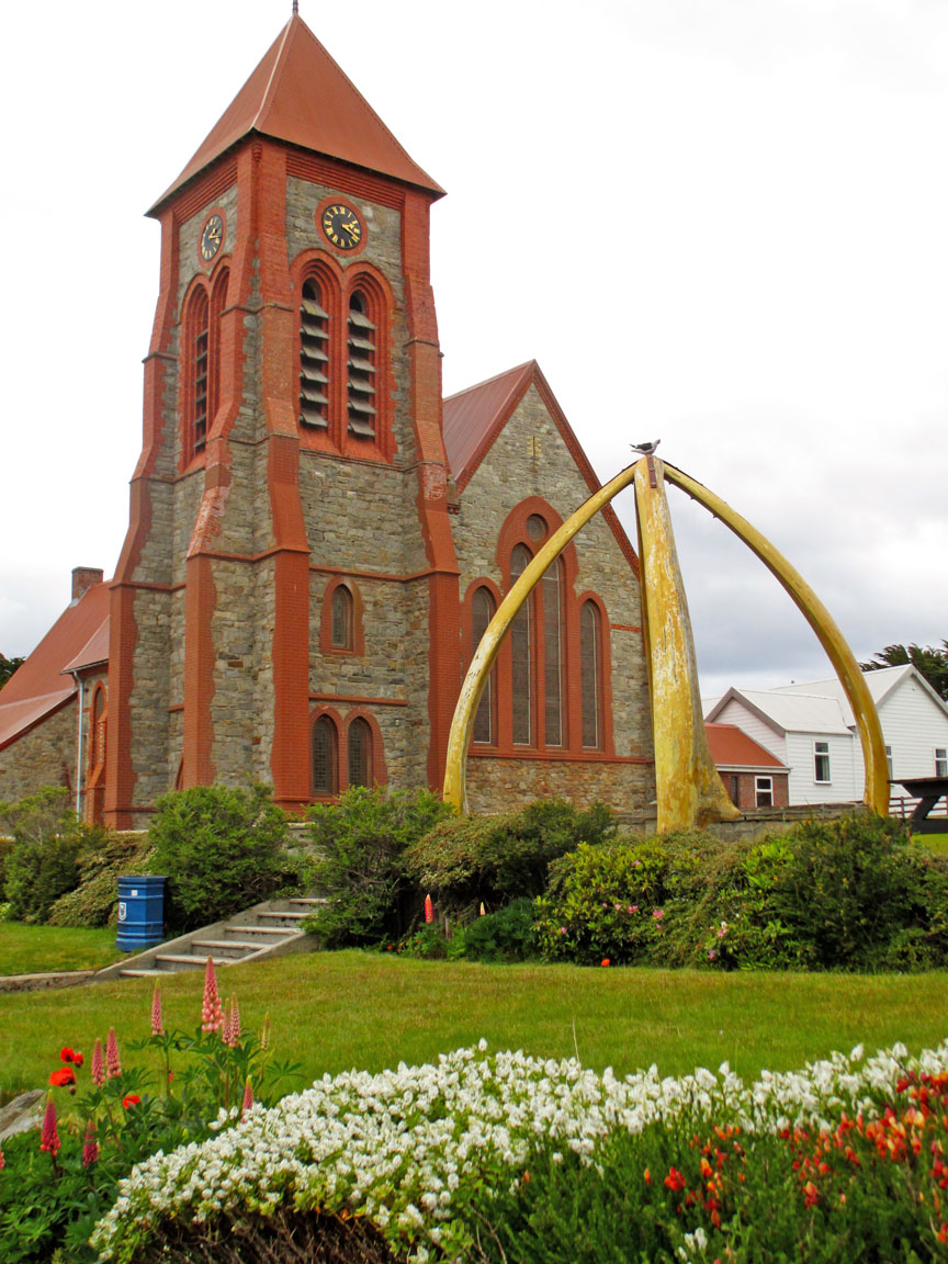 Falkland Islands, penguins, British, Argentina, South America, Christ Church, Whalebone Arches, monument, Port Stanley