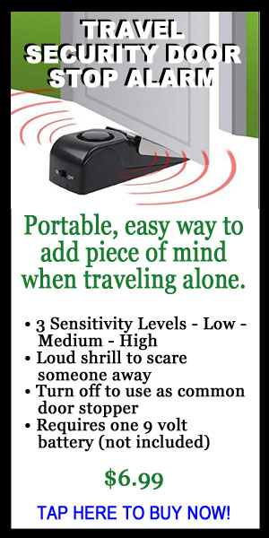 Travel Security Door stop alarm, portable, traveling alone