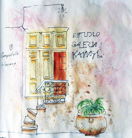 Havana, Cuba, Cathedral, architecture, Caribbean, hotel, Seville, Prada, art journal, watercolor