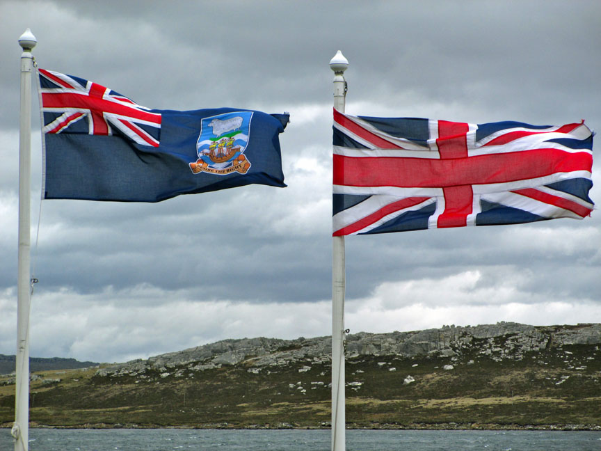 Falkland Islands, penguins, British, Argentina, South America, flags, Port Stanley