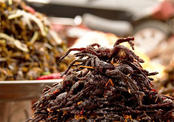 food, strange, worldwide, cuisine, tarantulas, Cambodia, eating, Anthony Bourdain