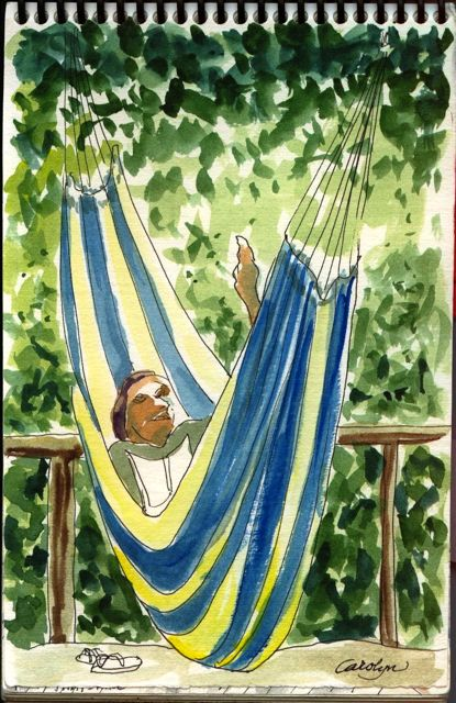 amazon, rainforest, jungle, Peru, Napo, Explorama, hammock, Carolyn V. Hamilton, art journal