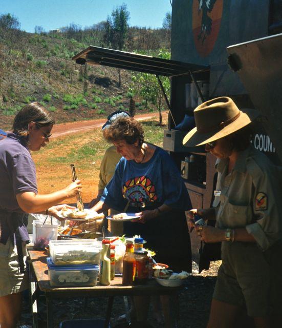 Serving lunch outdoors in Kakadu National Park, Australia