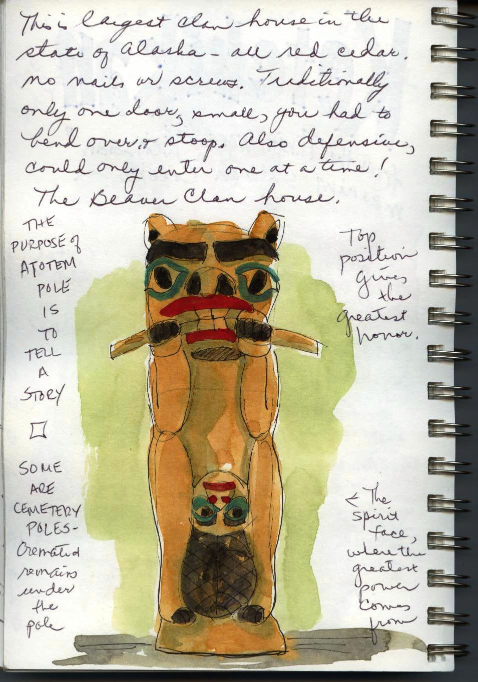 Alaska, art journal, watercolor, sketching, travel, Alaskan native culture