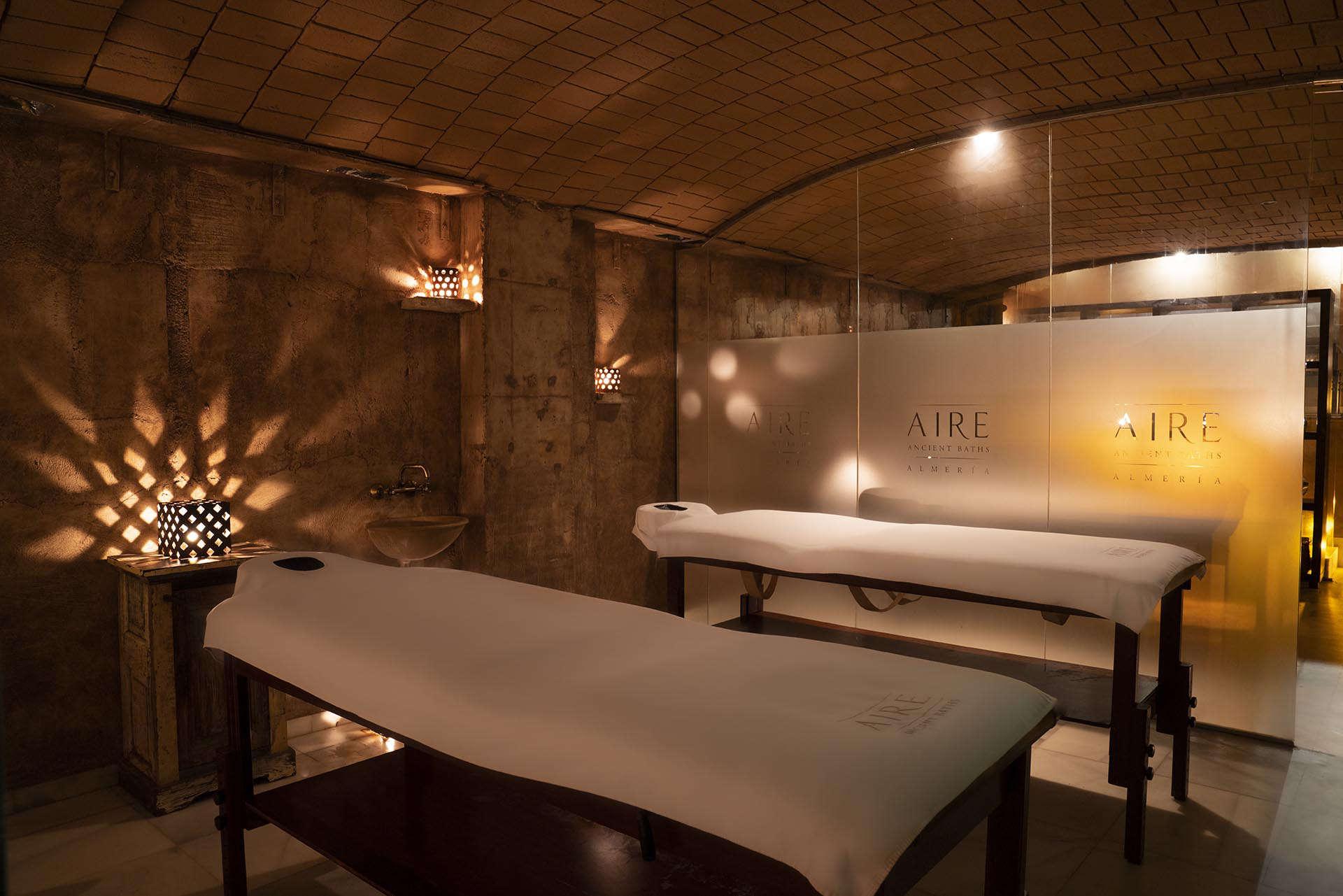 massage beds in the Aire Spa Almeria