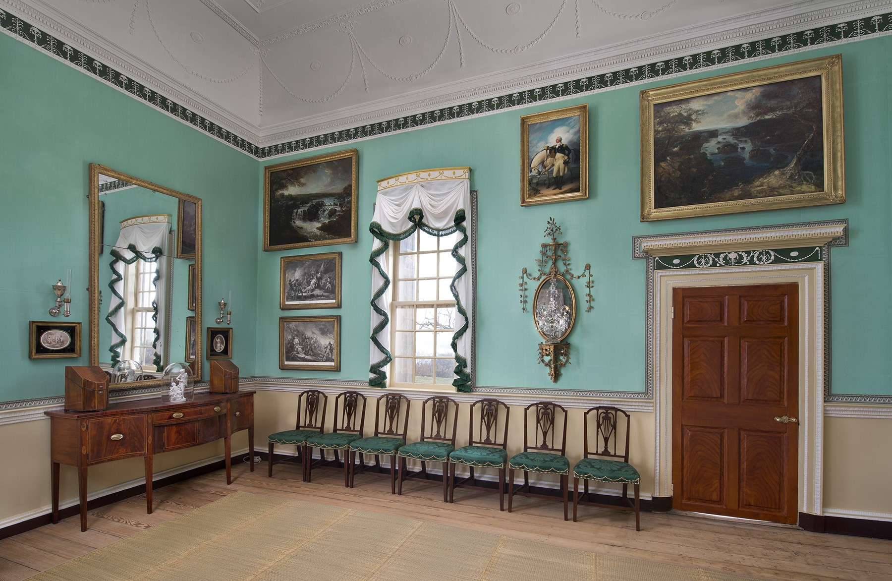 Interior salon at Mount Vernon, home of George Washington