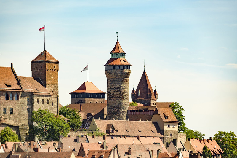 Towers of Nuremberg old town in the sun