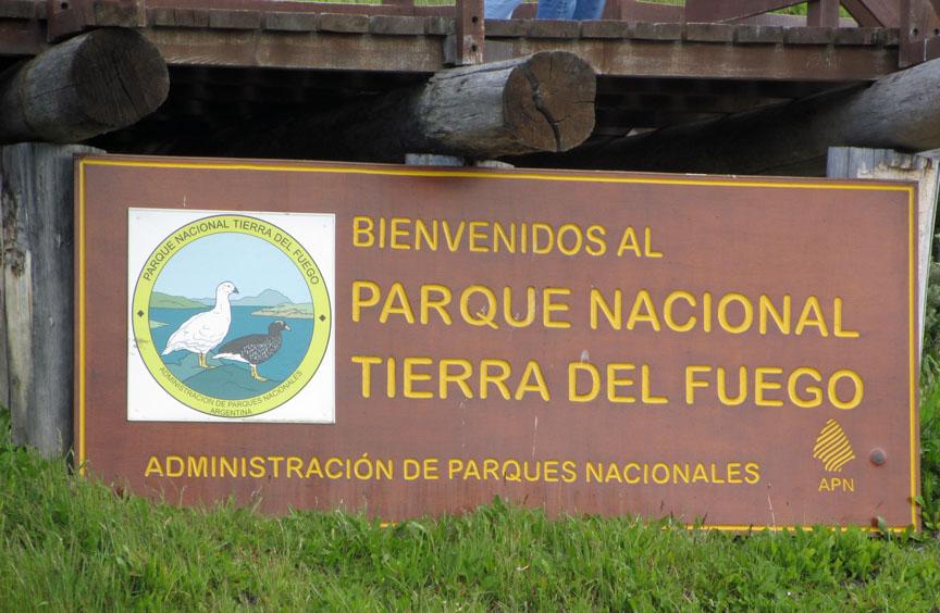 Entrance sign at the Tierra del Fuego national park.