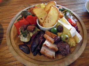 A platter of varied food at the vinyard