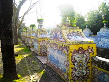 Garden walls tiled with azulejos in the gardens of the Queluz National Palace