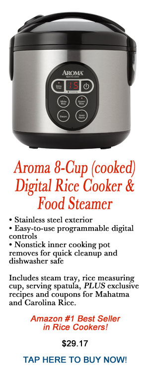 Aroma 8 cup(cooked) digital rice cooker & food steamer