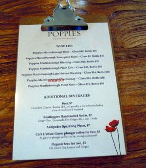 The wine list at Poppies Vinyard