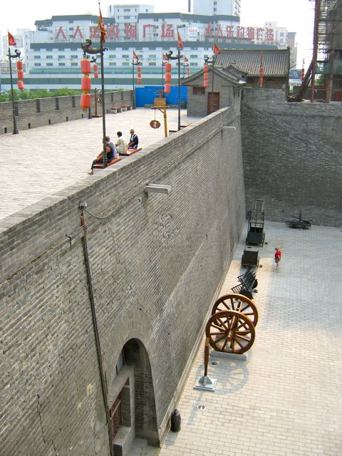 Ancient wall guarding the old city of Xian - site of the Terra Cotta warriors