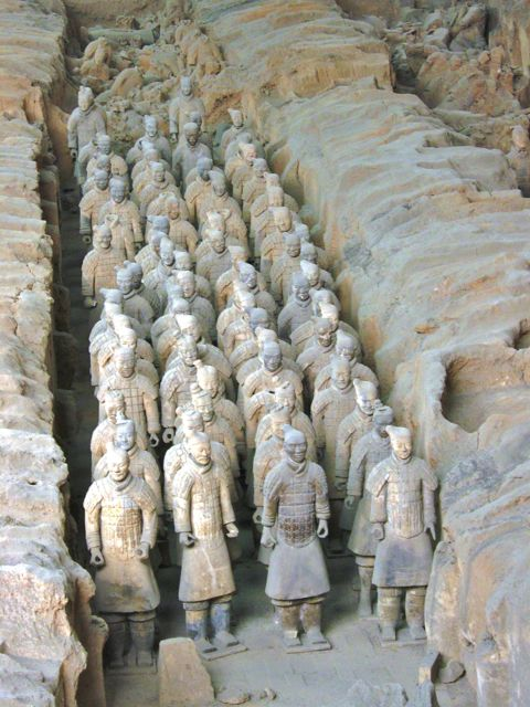 Lines of terra cotta warriors in Xian