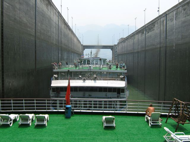 Canal section through the Three Gorges Dam on a Yangtze river cruise