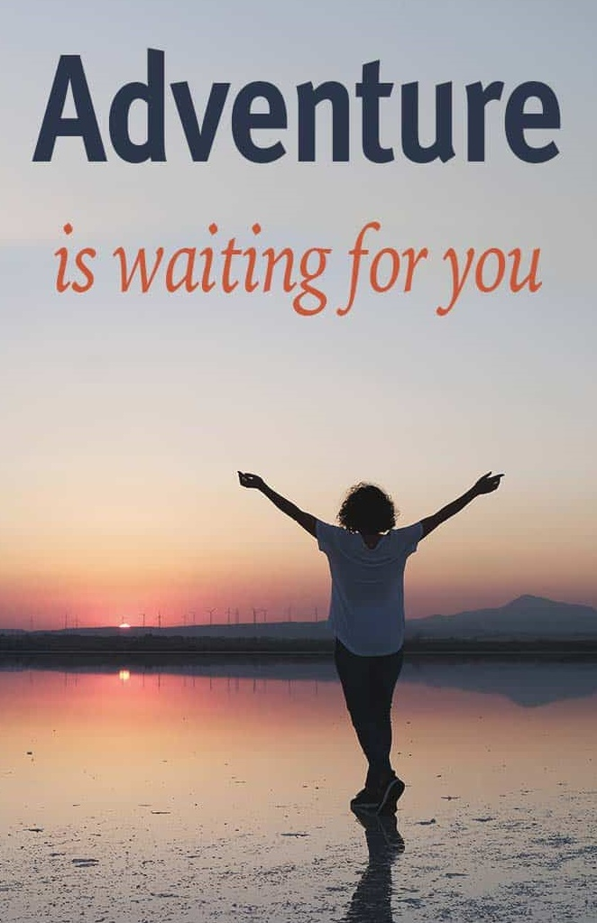Travel Quotes Adventure is waiting for you - girl with open arms facing the sunset