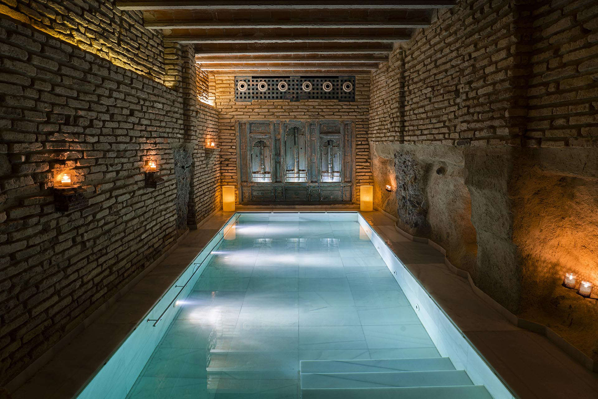 Aire spa baths in candlelight