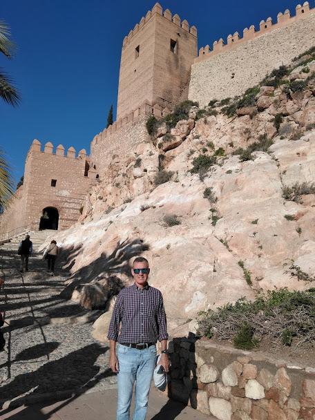Richard at steps leading up to entrance of Alcazaba Almeria