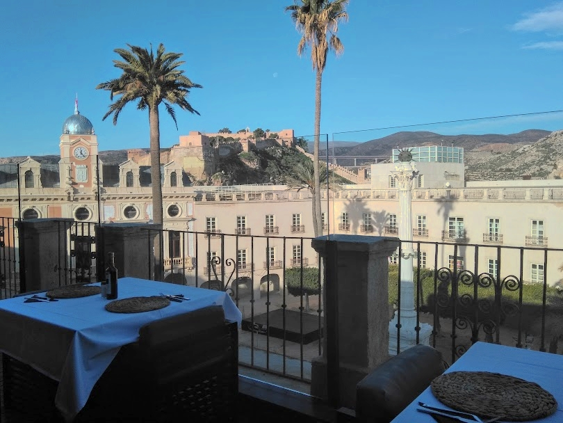 View of church and citadel from Aire Hotel breakfast table