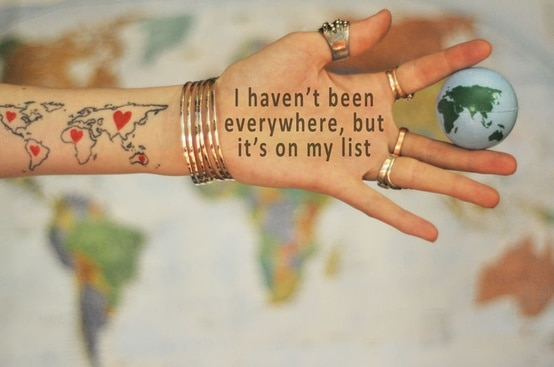 everywhere is on my list quote - hand with writing on and holding a globe