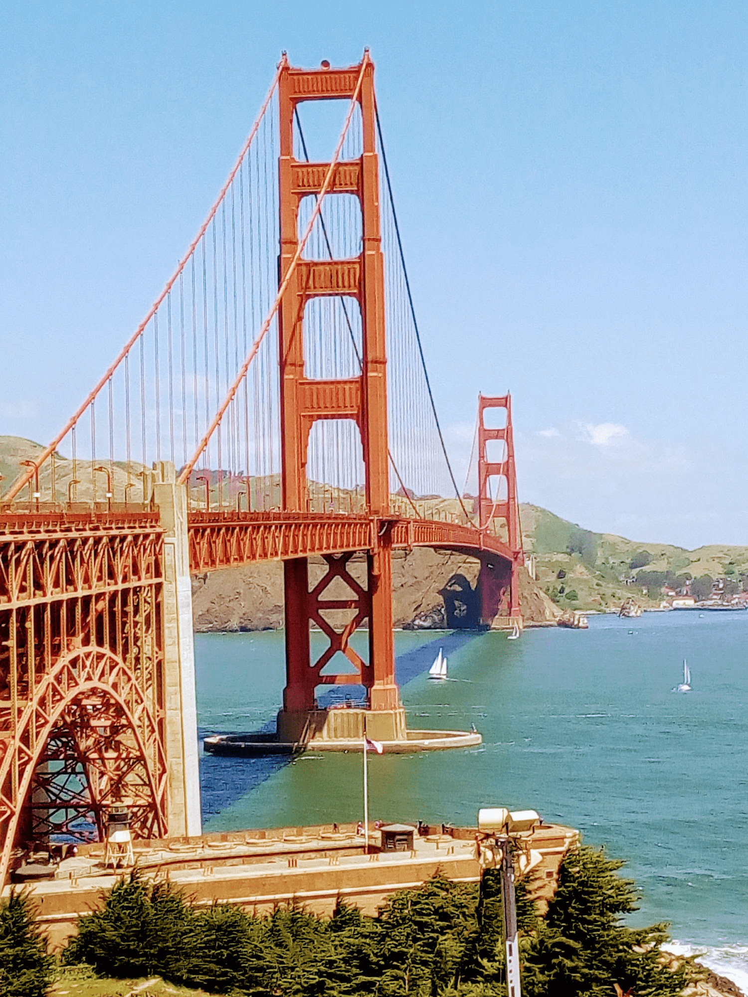 The Golden Gate bridge in San Francisco, in bright sunlight
