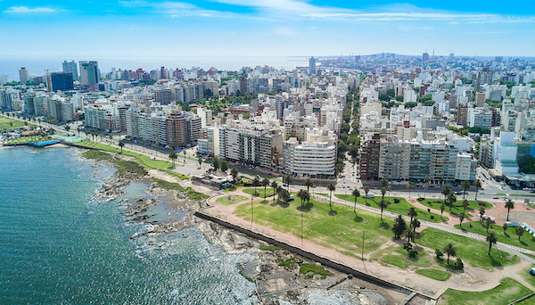 Montevideo in sunshine, from the air