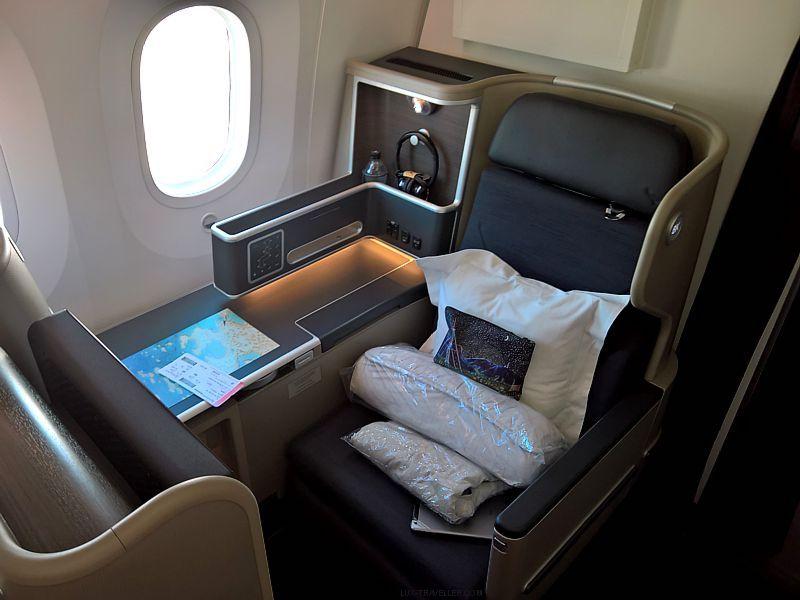 Qantas business class seat on QF10