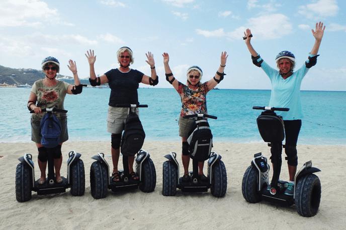 Adventuress ladies on a beach Segway tour