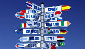 sign post with countries