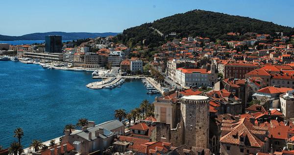 The port in Split, Croatia, bathed in sunshine