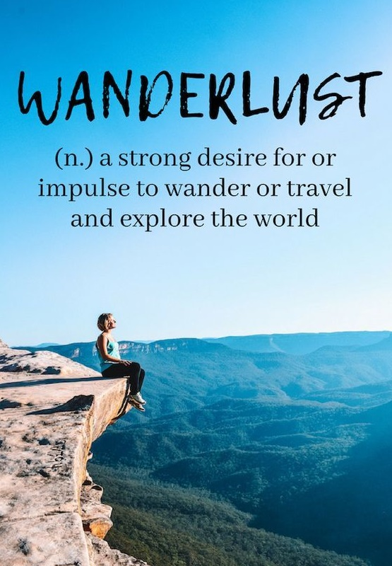 wanderlust quote - lady sitting on edge of a cliff