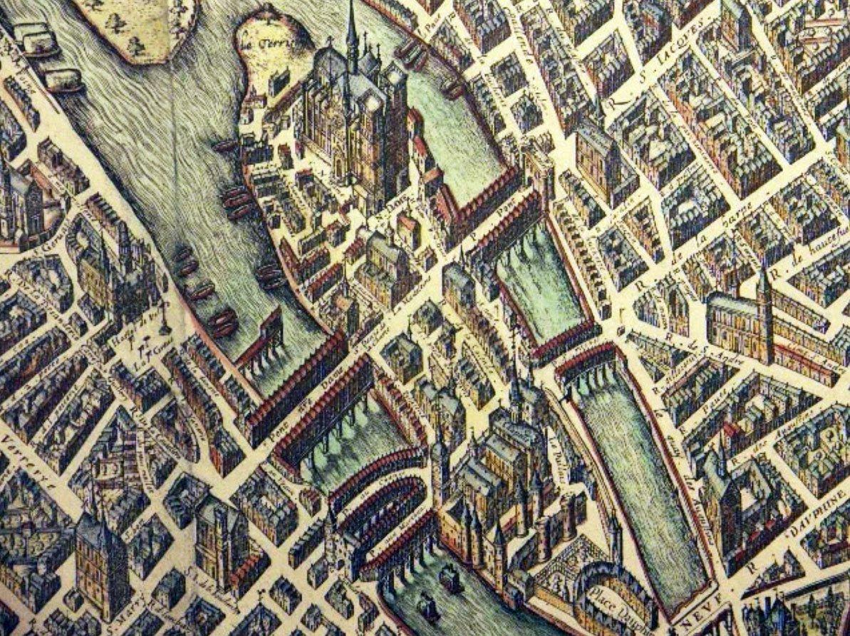 Paris,Map of the Île de la Cité, France, French adventure