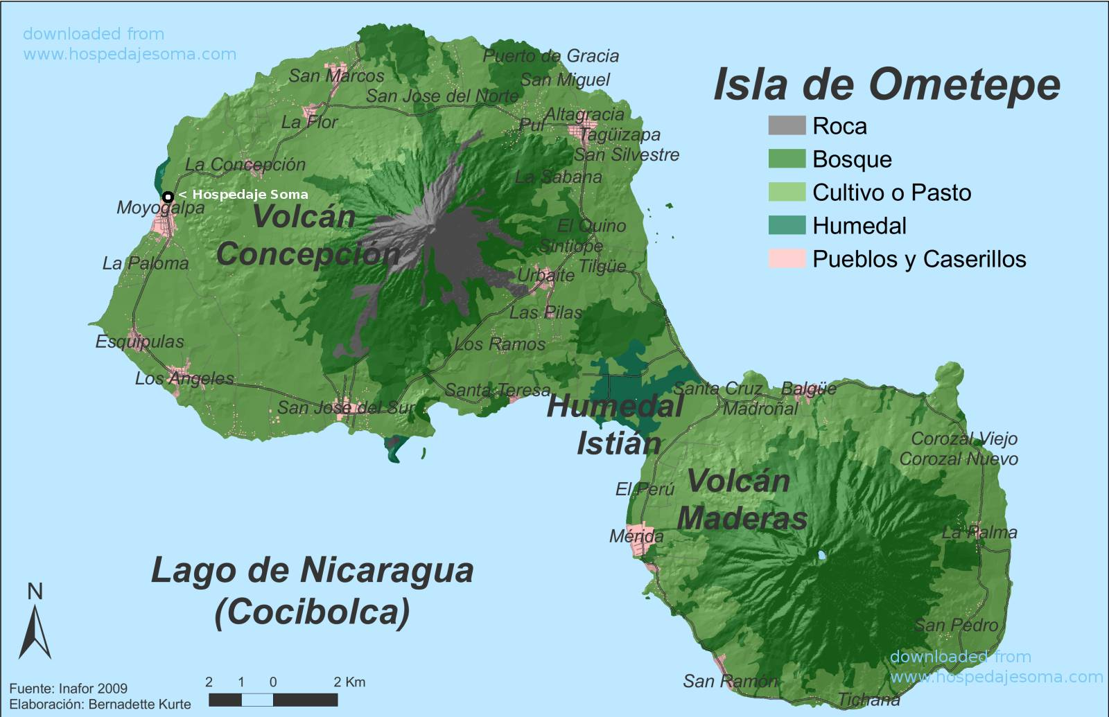 Ometepe map Nicaragua