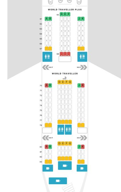 Airbus A380 seat map of premium Economy cabin