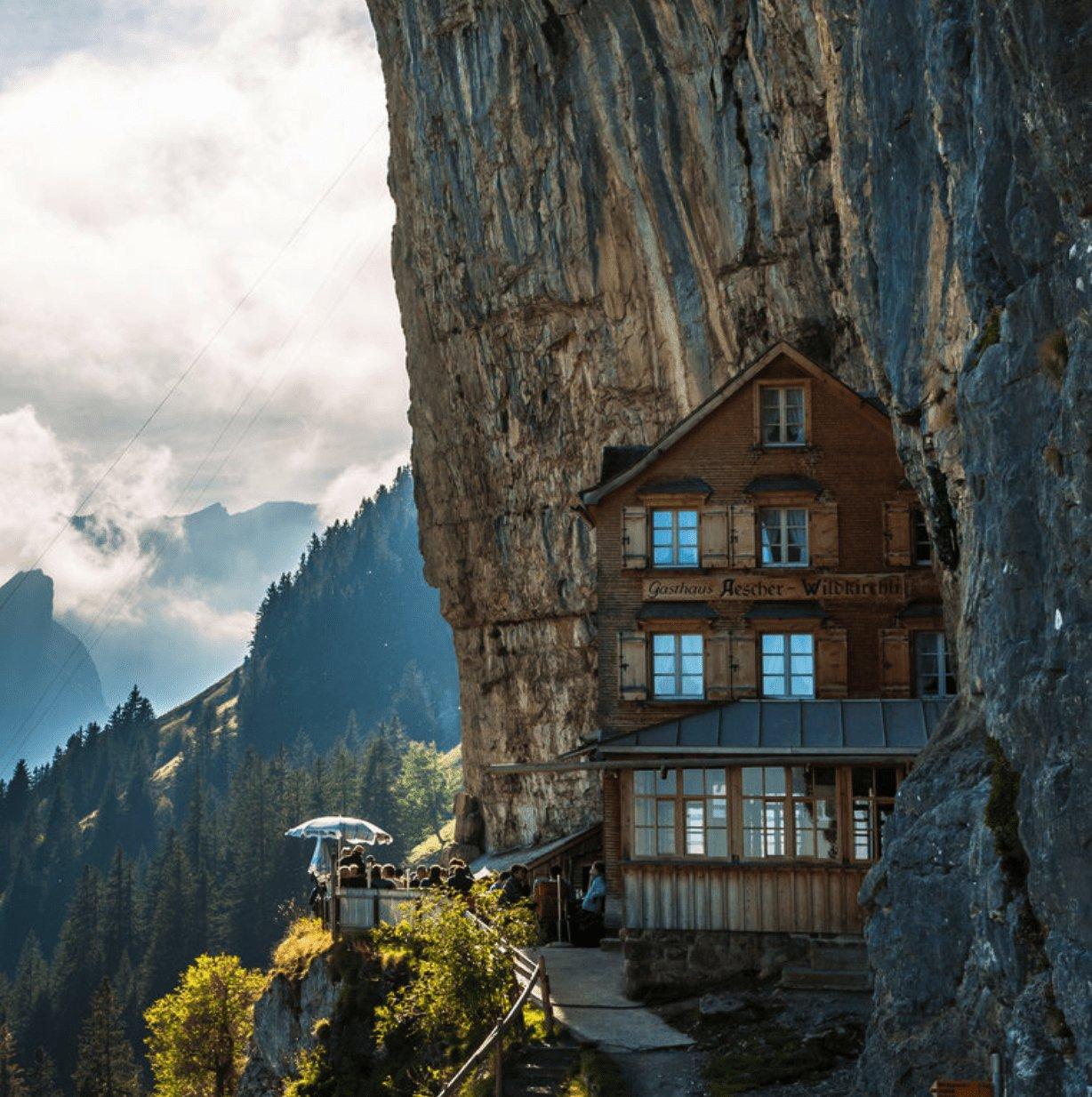 Aescher Restaurant clinging to a mountainside in Switzerland