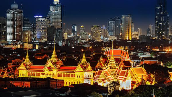 Bangkok city lights at night-time