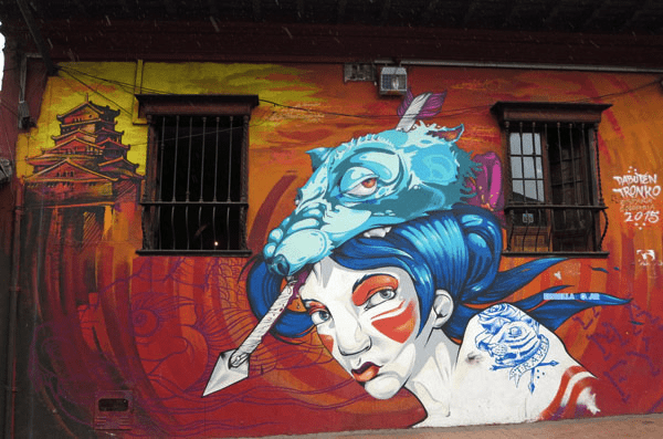 Bogota graffiti art of an Asian woman