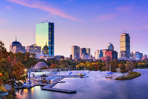 Boston City approaching sunset