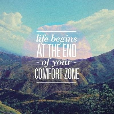 life begins at the end of your comfort zone quote - mountain views