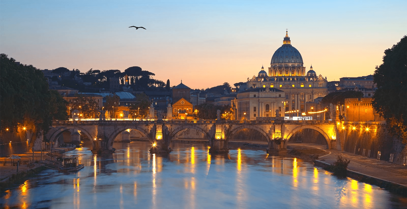 Romantic view of Rome at sunset